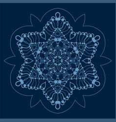 Symmetri ornamental snowflake on deep blue color vector