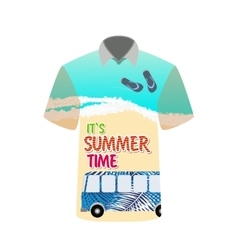 t-shirt with image sea bus for trip to rest vector image