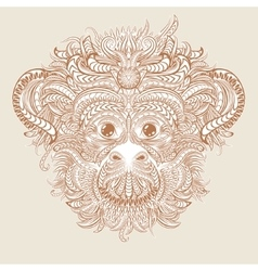 Tattoo design head of the monkey vector