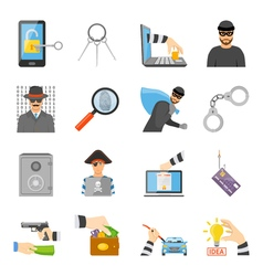 Theft Icons Set vector