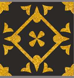 Tile decorative floor gold and black tiles pattern vector
