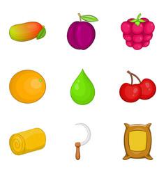 tiller icons set cartoon style vector image