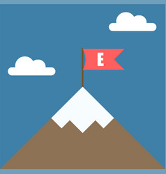 top of the mountain with red flag business vector image