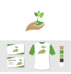 tree sprout logo design with business card and t vector image