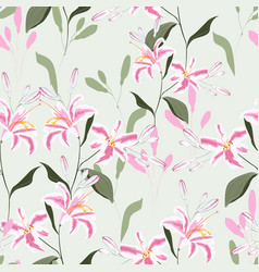 trendy floral pattern with pink lilies flowers vector image