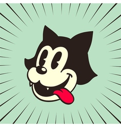 Vintage cartoon hungry cat smiling with tongue out vector image