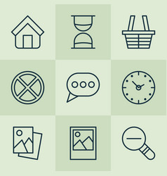 web icons set with sand timer messaging trading vector image