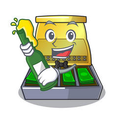 With beer cartoon cash register with a money vector