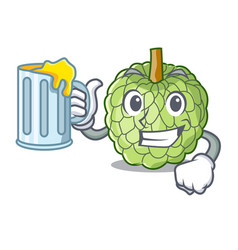 With juice fresh custard apple sweet fruit cartoon vector