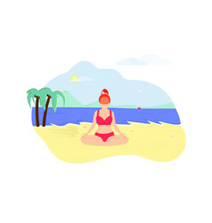 Young woman doing yoga asana on seaside beach vector