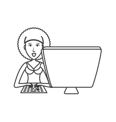 young woman with desktop computer vector image
