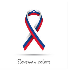 colored ribbon with the slovenian tricolor vector image