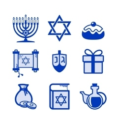 Hanukkah icons set vector image