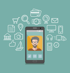 hipster man app icon on vector image