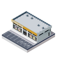 isometric supermarket building vector image vector image