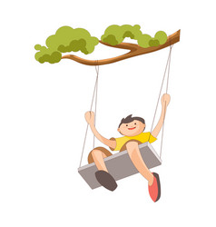 boy on swing that tied to tree branch vector image vector image