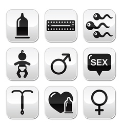 Contraception methods sex buttons sex vector image vector image