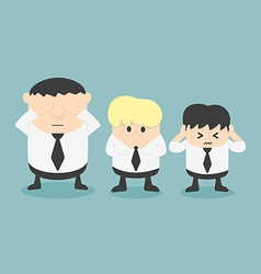Three businessmen See no evil hear no evil speak n vector image vector image