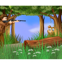 A hunter and a scared bear vector image vector image