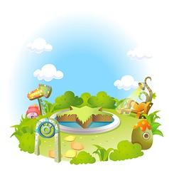 Formal garden on green landscape and blue sky vector image