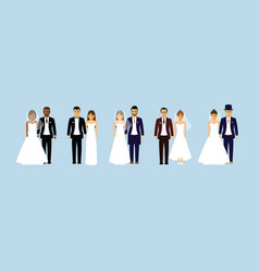 group of wedding couples vector image vector image