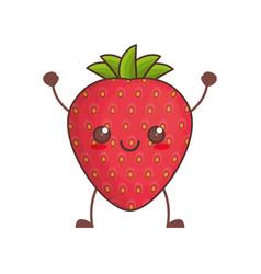 kawaii strawberry fruit image vector image vector image