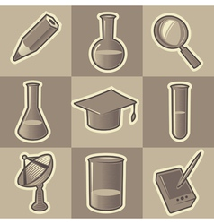 Monochrome science icons vector image vector image