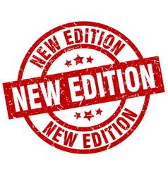 New edition round red grunge stamp vector