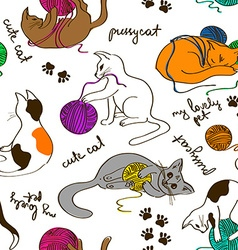 Seamless pattern with cats playing ball of yarn vector image