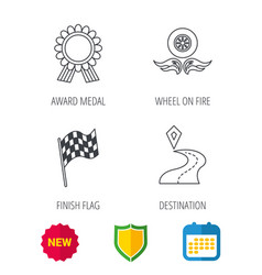 Winner award medal destination and flag icons vector
