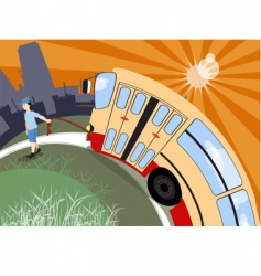 boy bus vector image vector image