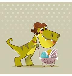 Cartoon Dinosaur With Stroller vector image