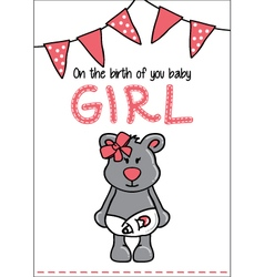 Cute baby bear card vector image