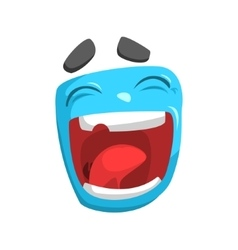 Laughing Blue Emoji Cartoon Square Funny Emotional vector image vector image