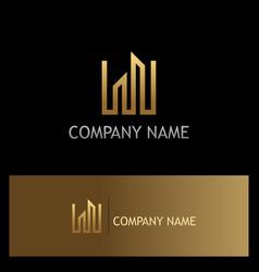 line building gold logo vector image vector image