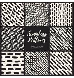 Set of Eight Seamless Hand Drawn Lines vector image