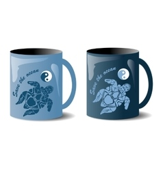 two mugs with turtles vector image
