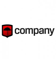 umbrella on shield logo vector image