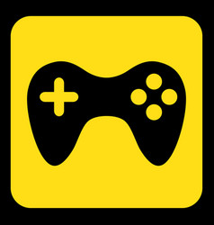 Yellow black information sign - gamepad icon vector