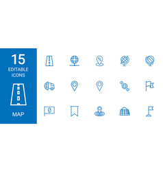 15 map icons vector image