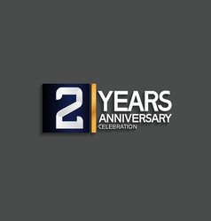 2 years anniversary logotype with blue and silver vector