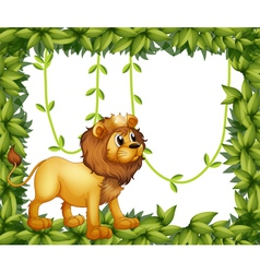 A king lion in a leafy frame vector image