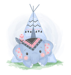 adorable boho elephant in watercolor style vector image