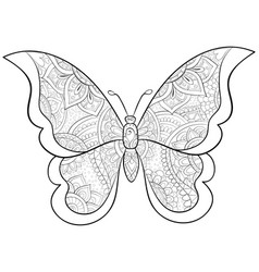 adult coloring bookpage a cute butterfly image vector image
