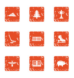 Athletic currency icons set grunge style vector