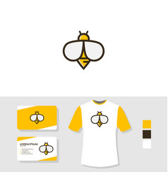 bee logo design with business card and t shirt vector image