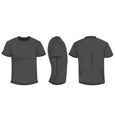 Black t-shirt template in front side and back vector