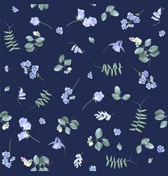 Blue flowers on dark bg floral pattern vector