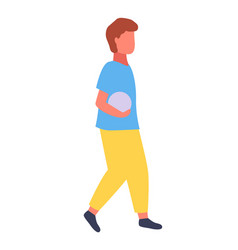 boy carries ball child playing soccer summer vector image
