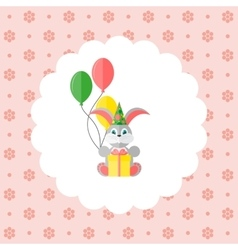 Bunny in cap with balloons and gift vector image